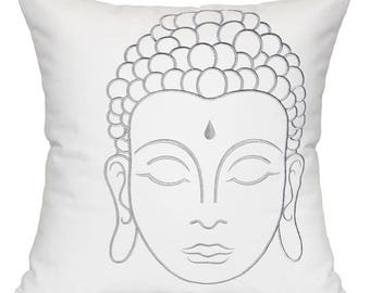 Buddha Pillow in Silver Embroidery, Travel Pillow, Throw Pillow, Buddha Decor, Buddha Head, Silver Buddha, Living Room Decor, Pillows