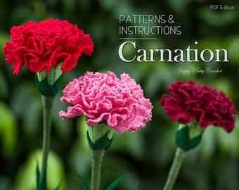 Crochet Carnation Pattern - Croche Flower Pattern - Carnation Flower Pattern - Mother's Day Crochet Flower - January Birth Month Flower