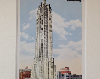 Empire State Building, vintage postcard, Blimp, Dirgible, Zeppelin, matted for 5 x 7 frame, New York City, Empire State, 1920's