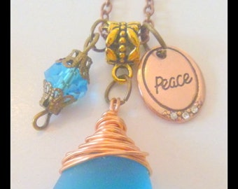 Blue Cultured Sea Glass Pendant Necklace with Peace Charm