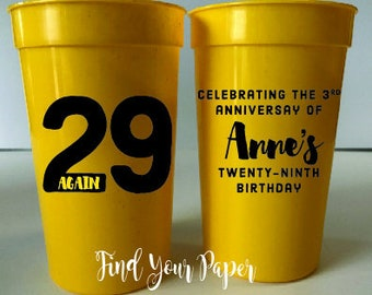 Birthday Cups, Banner Birthday, Personalized Birthday Cups, Party Favor Cups, Birthday Cups, Stadium Cup, Birthday Cups, Over Hill Cups