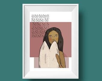 Surfer Girl, Native Surfer Girl Illustration Printable, Mexican Girl, Surfer Girl, Print