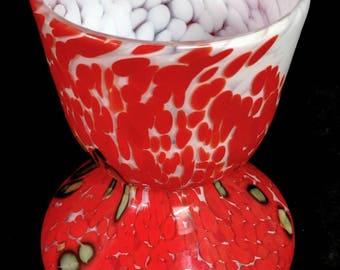Mid Century Modern Czech Bohemian Kralik Multi Colored Spatter Art Glass Wide Mouth Vase
