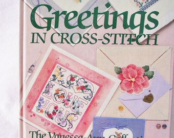 Greetings In Cross-Stitch -Vintage Cross Stitch Pattern Book -Special Occasions, Celebrations, Friendship, Love, Sympathy, Holidays And More
