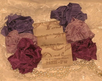 Scrunched Seam Binding ribbon, Crinkled Seam Binding Packaged Vintage Violette ECS