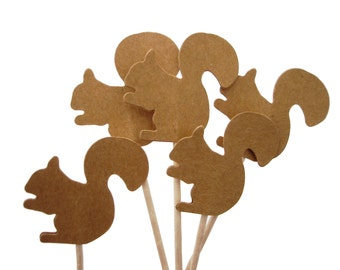 24 Kraft Brown Squirrel Cupcake Toppers, Food Picks, Toothpicks, Birthday Party Decoration - No856