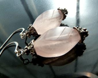 Twisted Rose Quartz Dangle Earrings in Bali Sterling Silver closeout sale destash OOAK jewelry