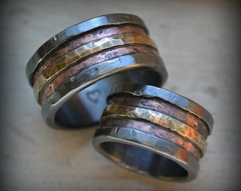rustic wedding ring set, fine silver and copper and brass, handmade oxidized fine silver copper brass wedding bands, custom hand stamping