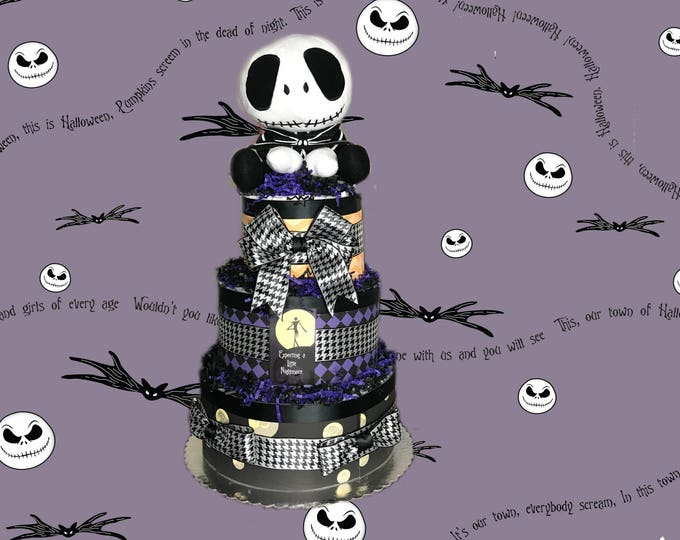 Featured listing image: Expecting a Little Nightmare- Halloween, Jack Skellington Themed Diaper Cake