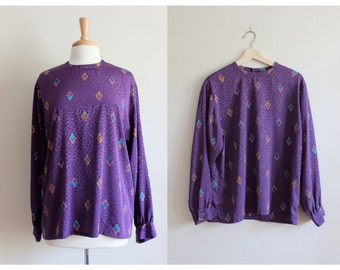 Vintage Pendleton Diamond Print Purple Long Sleeve Top