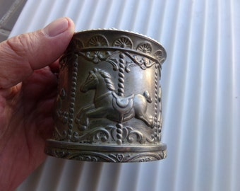 Vintage Pewter Carousel Piggy Bank / Money Coin Bank