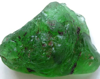 1 Pc Authentic Green Bonfire Glass Large Nugget Chunk   Green Beach Glass   Green Sea Glass   Surf Tumbled   Craft Glass   Jewelry Glass