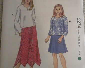 Kwik Sew 3274 Girls Tops and Skirts