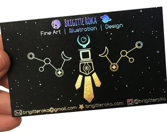 100 Business Cards - black 14PT matte stock - hologram holographic metallic foil - custom printed