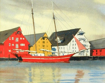 """Tromso, Norway Harbor - Watercolor Limited. Ed. Print 14"""" x 11""""  matted art, painting"""