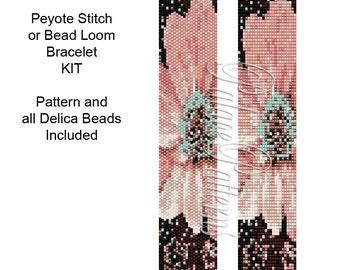 Peyote or Bead Loom Bracelet Kit - Peyote Stitch Delica Bracelet KIT P9 - Includes Pattern and Beads - Bead Loom Bracelet Kit - Flower 1121