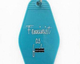 Motel Keychain. Retro Style Keychain. Mature. Key Fob. Feminist.