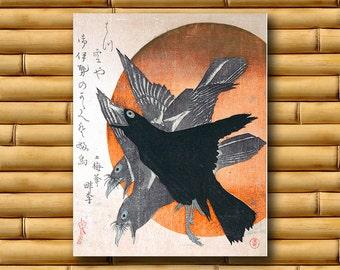 Raven Art Decor Asian Crow Wall Art Japanese Poster Art Decor Japan Retro (J165)