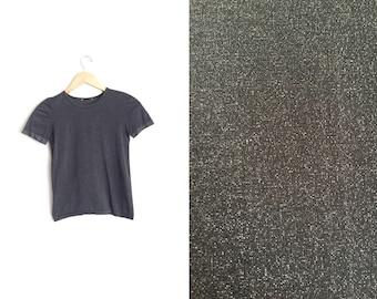 10 DOLLAR S A L E! // Size XXS/XS // Glittery Metallic T-Shirt // Black - Fitted - Vintage '90s.