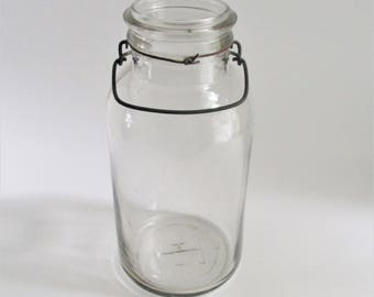 Vintage Glass Mason Jar Wire Bale Large Jar Kitchen Storage Collectible Jar