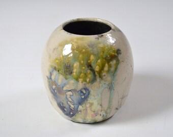White Turquoise & Golden Yellow Raku Small Ceramic Vase, Modern Home Decor, Unique Drips Vessel, Tiny Clay Bud, Miniature Dried Flowers Pot