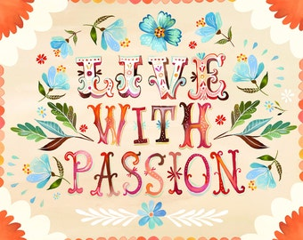 Red Border Live With Passion art print | Inspirational Wall Art | Hand Lettering | Katie Daisy
