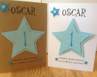 Handmade personalised 1st birthday card- personalised with name and age. 1st,2nd,3rd etc...son,grandson,nephew,godson
