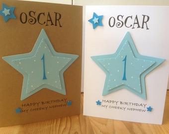 1st birthday card etsy handmade personalised 1st birthday card personalised with name and age 1st2nd bookmarktalkfo Images