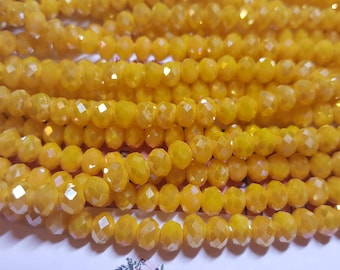 1 strand of 6x4mm Faceted Rondelle Mustard Yellow Golden Coated Chinese Crystal