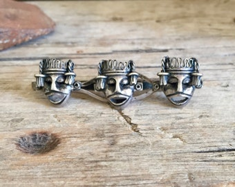 Sterling Silver Tie Clip / Aztec Mask / Tie Slide / Warrior / Tribal / Mayan / Mexico / Three Masks / Battle / 3 Dimensional / 3D / Vintage