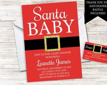 Santa Baby Shower Invitation Invite Digital 5x7 Christmas Holiday Red Sprinkle Gender Nuetral