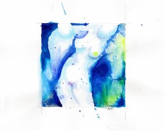 Blue nude 09-nude-Watercolour-drawing-Aktgemälde-nude art-nude painting-Unique