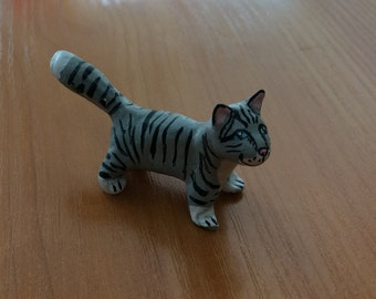 Mini cat figurine.Tabby cat miniature