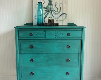 SOLD** Vintage Teal Hand painted Dresser, 4 Drawer Dresser, Shabby Chic Dresser, Tall Dresser, Large Dresser, Armoire
