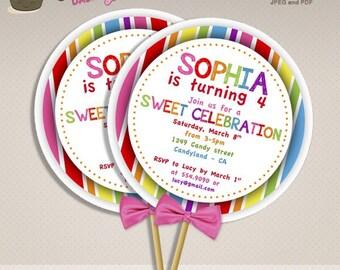 Sweet Shop Candyland Birthday Party DIY Lollipop invitations sweet shoppe DIY printable lollipop invite