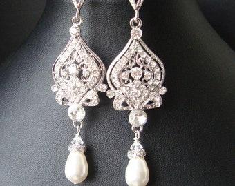 Vintage Bridal Earrings, Chandelier Wedding Earrings, Art Deco Bridal Jewelry, Pearl Wedding Jewelry, JACQUELINE