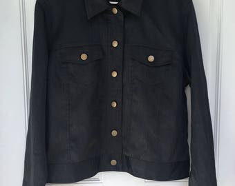 Women's vintage 90's black button down jacket-like long sleeve top by Spencer Jeremy size large