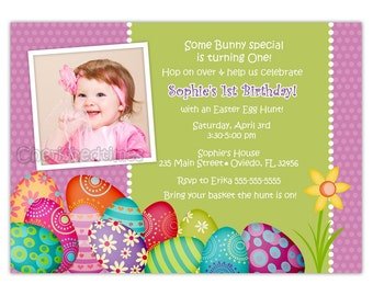 Easter Birthday Photo Card Invitation ( Digital File)