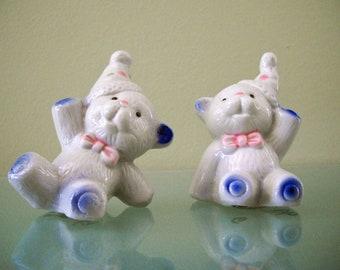 Clown Bear Figurines / Cake Toppers Pair Vintage