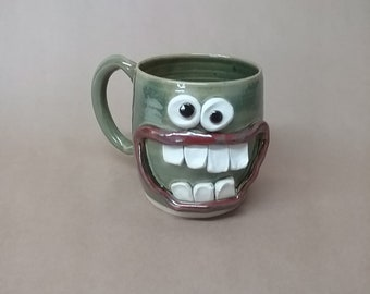 Green UgChug Face Mug. 14-16 Ounce Coffee Cup. Funny Keto Diet Dieter's Mug. Microwave and DIshwasher Safe Stoneware. Father's Day Gift!