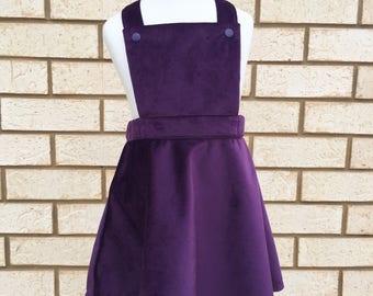 Velvet pinafore girl dress for winter