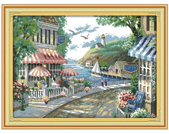 The Seaside Cafe Patterns Counted Cross Stitch 11CT Printed 14CT Cross Stitch Set Chinese Cross-stitch Kit Embroidery Needlework