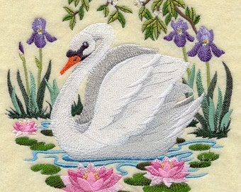 Swan Scene Quilt Block