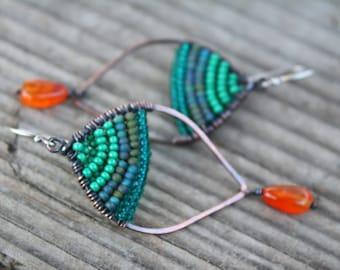 Woven Copper Earrings, Seed Bead Earrings, Green Earrings, Petal Earrings, Oxidized Copper, Wire Jewelry, Boho Jewelry, Green Jewelry