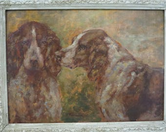 Antique French Brittany Spaniels Oil Painting Paul Taverier France Well Listed