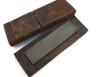 Whetstone Sharpening Stone Primitive Kitchen Tool.Honing Stone Sharpener Primitive Wooden Case.Antique Razor Knife Sharpening Stone