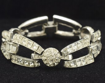 Vintage 1950s Rhinestone Bracelet Rhodium Plated Quality Chunky ~ Lot 790