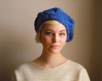 Chunky wool beret - Royal blue