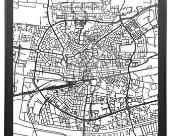 Citymap Leeuwarden Netherlands - 60 cm x60 cm - lasercut - Black MDF wood - frame included