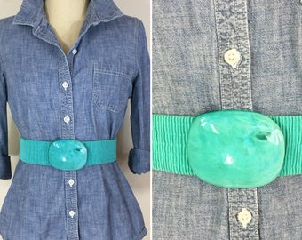 80s Turquoise Wide Stretch Belt with Plastic Tortoise Oval Buckle, Size Large to XL